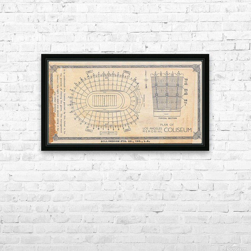 1933 LA Coliseum Map Art HD Sublimation Metal print with Decorating Float Frame (BOX)
