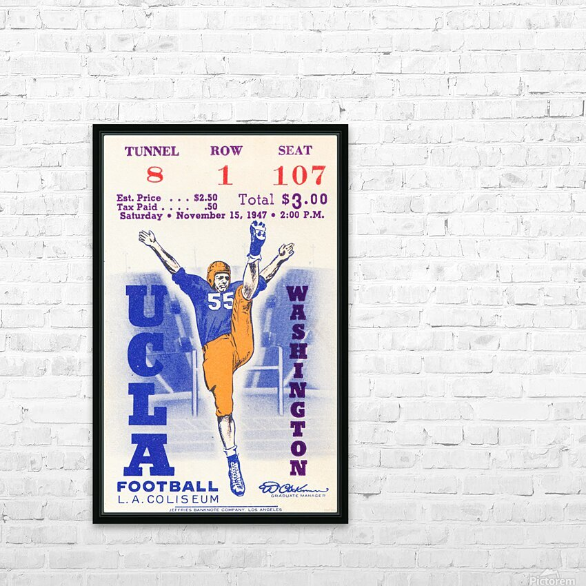 1947 UCLA vs. Washington HD Sublimation Metal print with Decorating Float Frame (BOX)