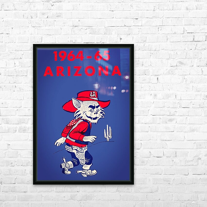 1964 Arizona Wildcat Art HD Sublimation Metal print with Decorating Float Frame (BOX)
