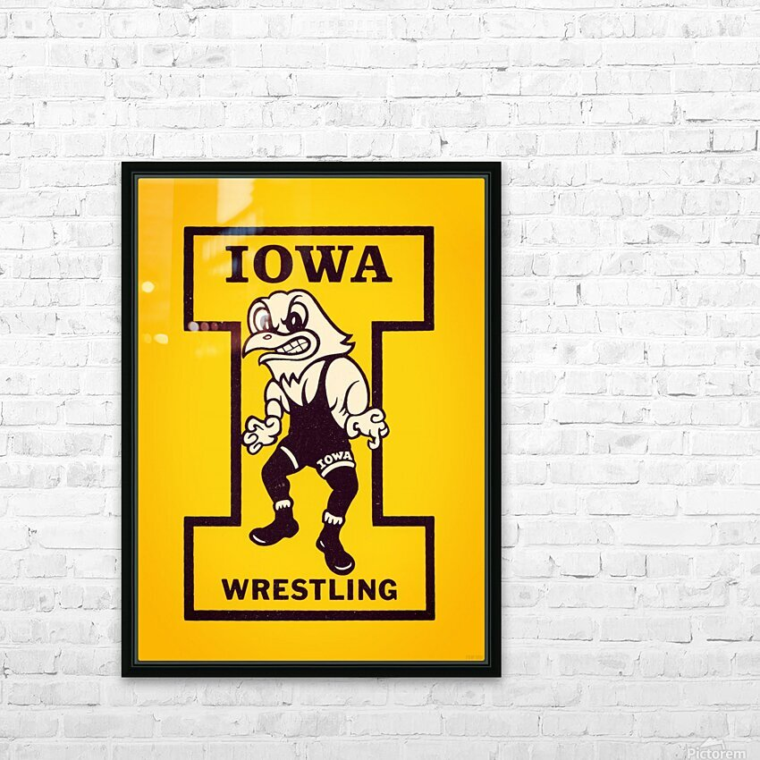 Vintage Iowa Wrestling Art HD Sublimation Metal print with Decorating Float Frame (BOX)