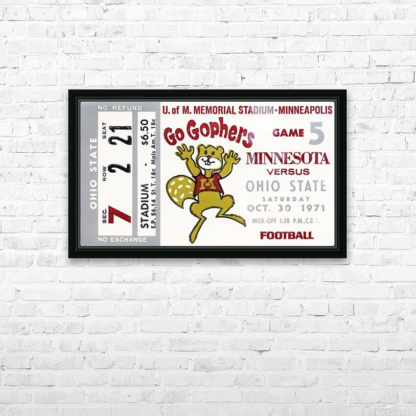 1971 Minnesota vs. Ohio State HD Sublimation Metal print with Decorating Float Frame (BOX)