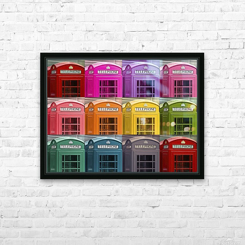 Multicoloured telephone boxes HD Sublimation Metal print with Decorating Float Frame (BOX)