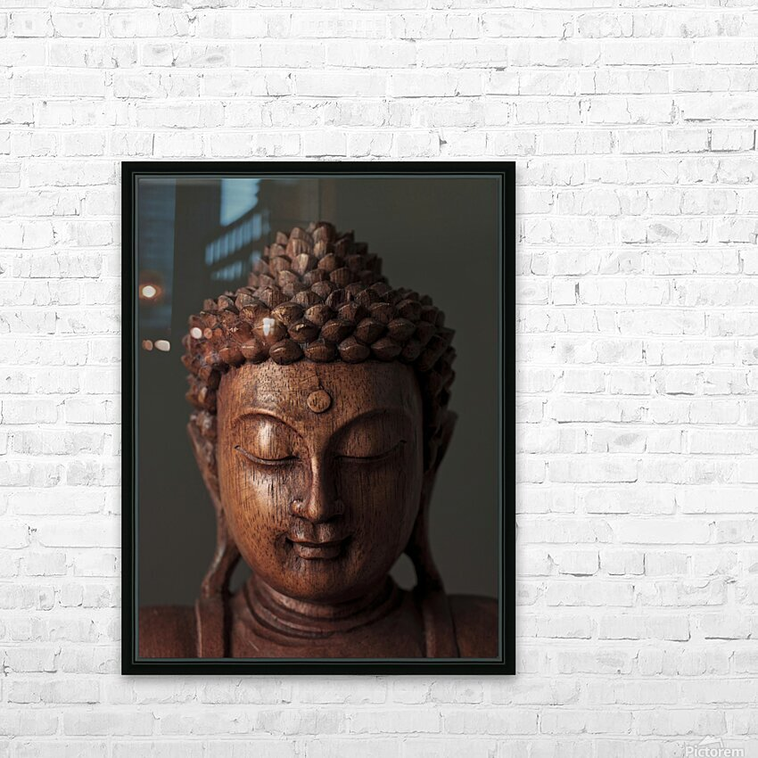 Buddha sculpture face HD Sublimation Metal print with Decorating Float Frame (BOX)