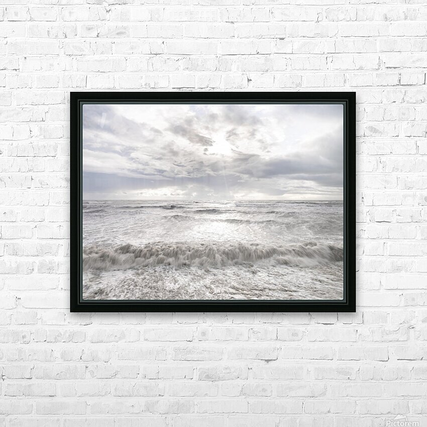 Rough and stormy sea at dusk, Charmouth, Dorset, UK HD Sublimation Metal print with Decorating Float Frame (BOX)