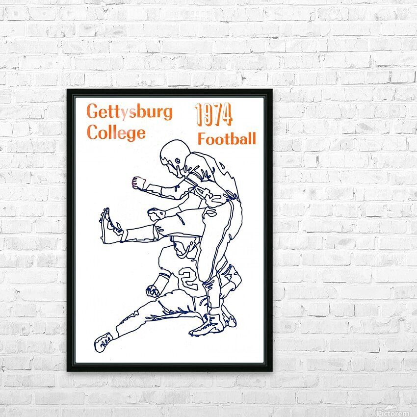 1974 Gettysburg College Football Art HD Sublimation Metal print with Decorating Float Frame (BOX)