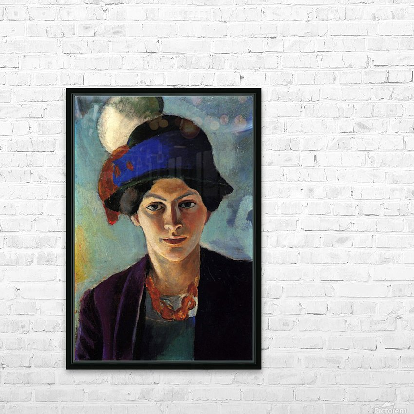 Portrait of the wife of the artist with a hat by Macke HD Sublimation Metal print with Decorating Float Frame (BOX)