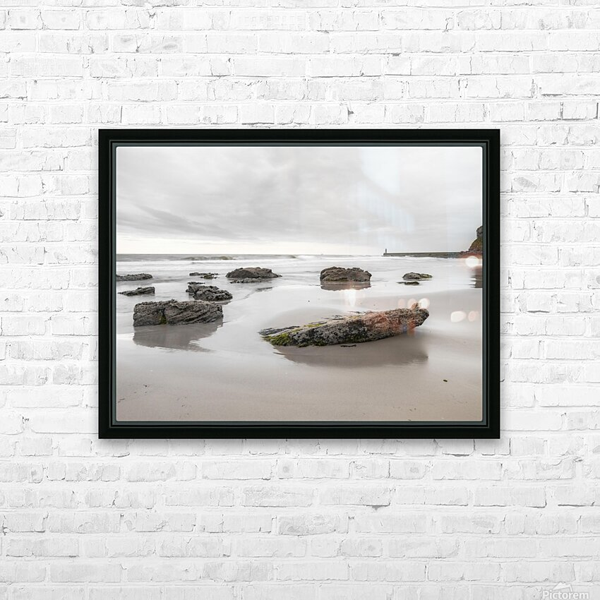 Rocks on a sandy beach HD Sublimation Metal print with Decorating Float Frame (BOX)
