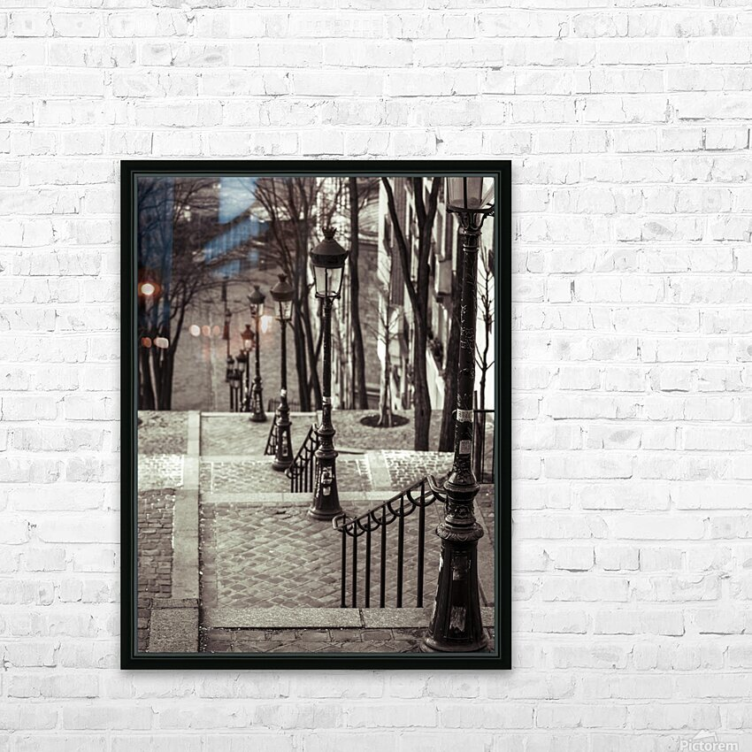 The famous staircase in Montmartre, Paris, France HD Sublimation Metal print with Decorating Float Frame (BOX)
