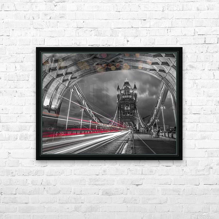 Tower bridge with strip lights, London, UK HD Sublimation Metal print with Decorating Float Frame (BOX)