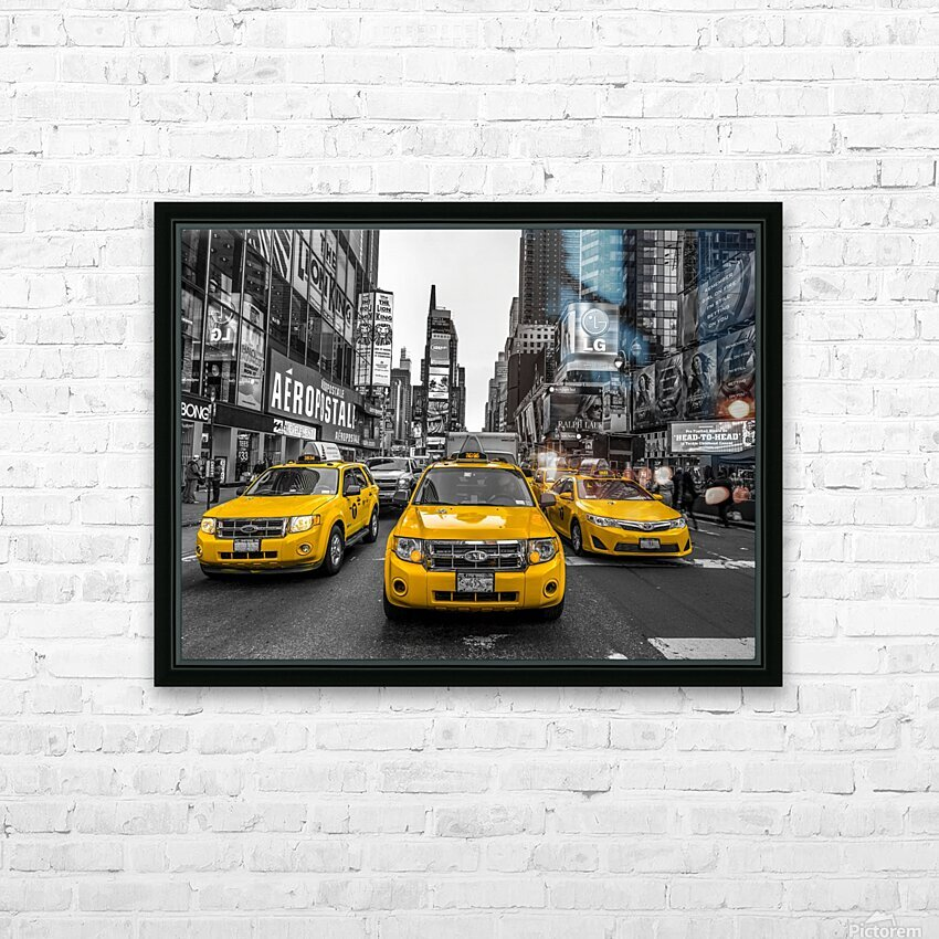 Taxi on broadway, New York HD Sublimation Metal print with Decorating Float Frame (BOX)