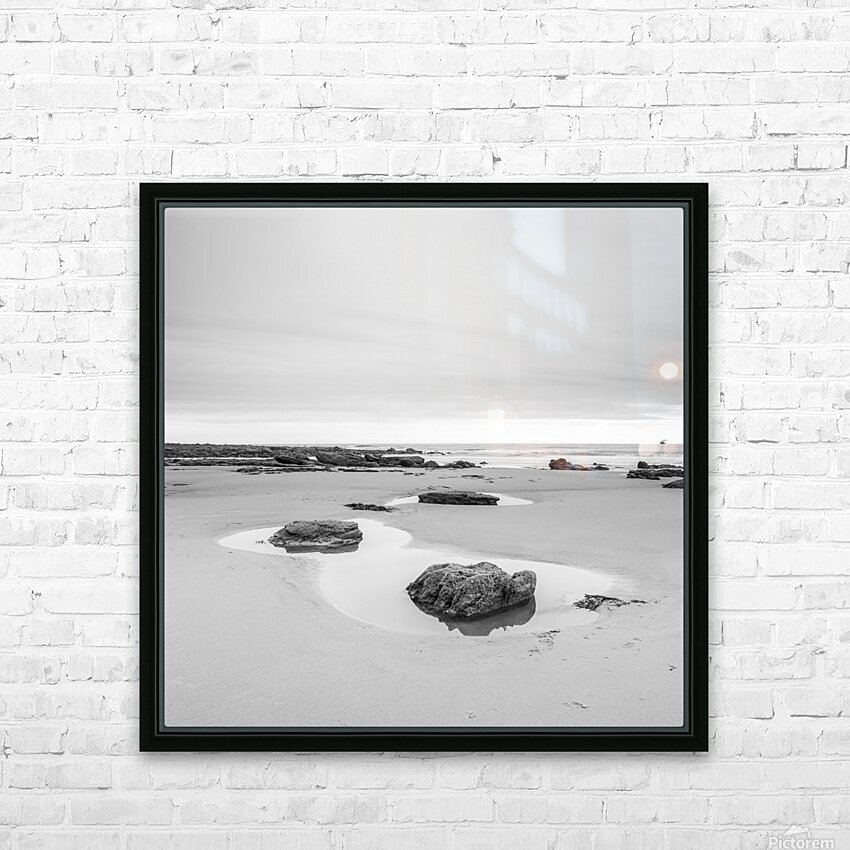 Rock pools on a sandy beach HD Sublimation Metal print with Decorating Float Frame (BOX)