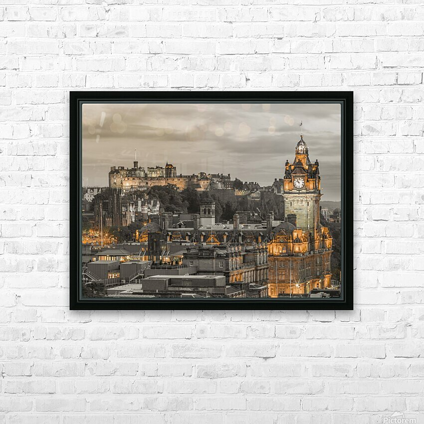Edinburgh Castle and The Balmoral Hotel, Scotland HD Sublimation Metal print with Decorating Float Frame (BOX)