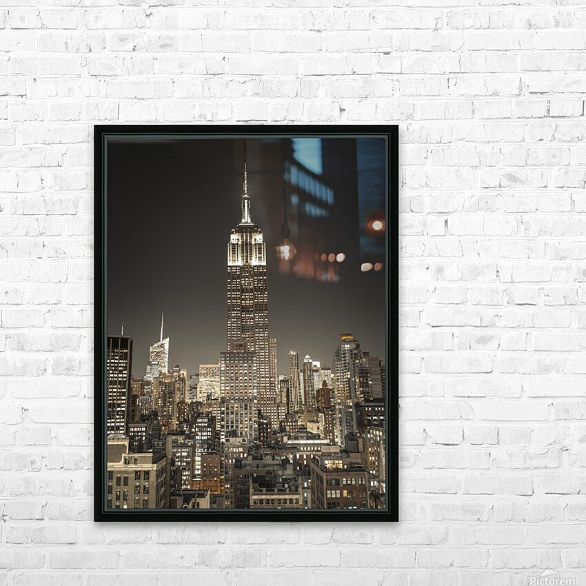 Empire State Building with New York City Manhattan skyline with skyscrapers HD Sublimation Metal print with Decorating Float Frame (BOX)