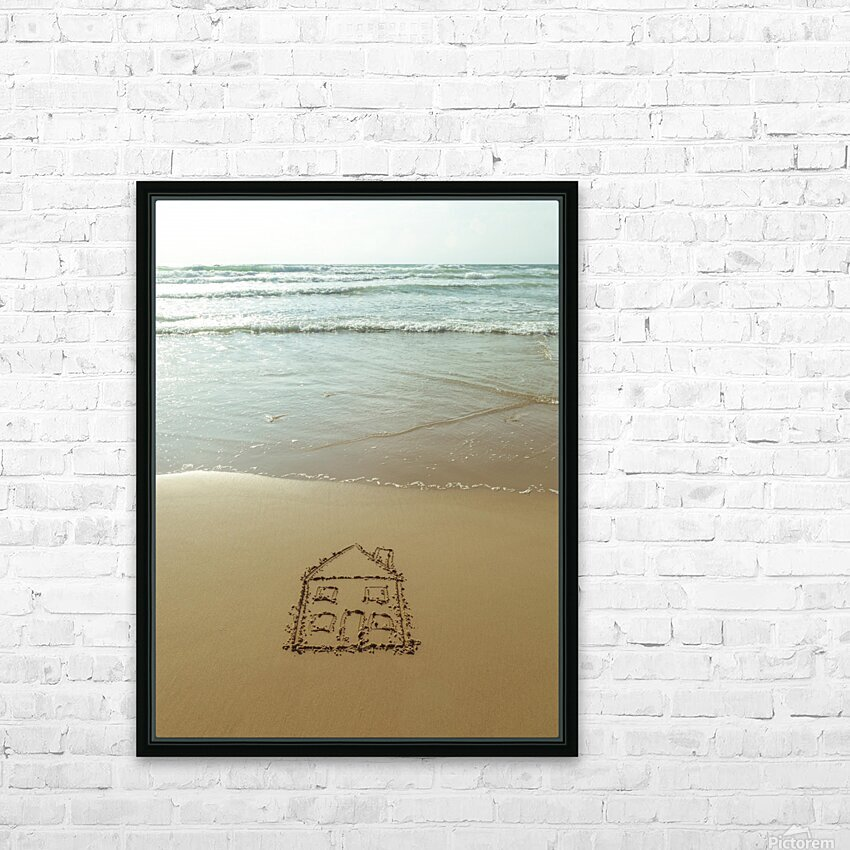 Sweet home drawn on sand at the beach HD Sublimation Metal print with Decorating Float Frame (BOX)