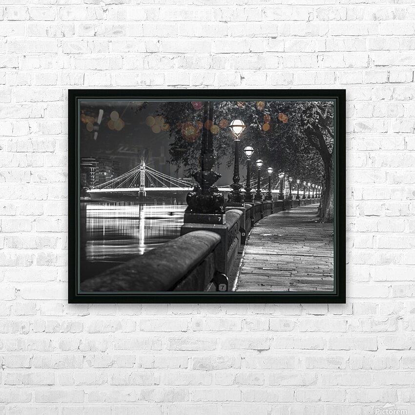 London Riverside Promenade with Albert Bridge HD Sublimation Metal print with Decorating Float Frame (BOX)