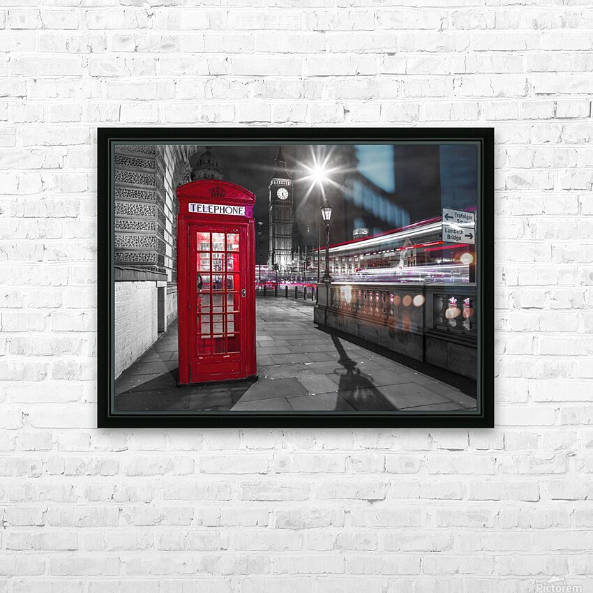 Telephone box with Big Ben, London, Uk HD Sublimation Metal print with Decorating Float Frame (BOX)