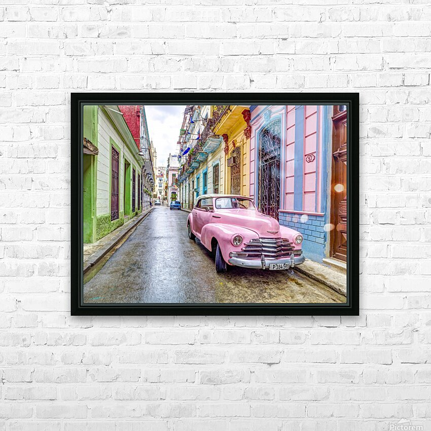 Vintage car on street of Havana, Cuba HD Sublimation Metal print with Decorating Float Frame (BOX)
