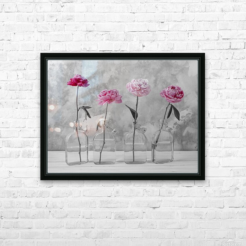 Peonies in glass bottles HD Sublimation Metal print with Decorating Float Frame (BOX)