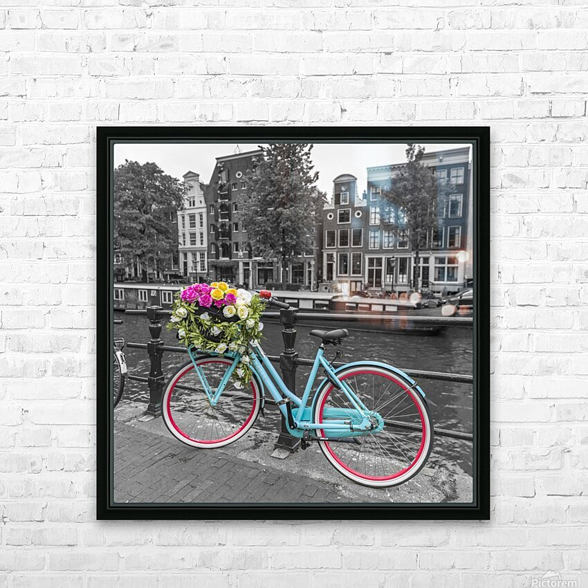 Bicycle with bunch of roses on bridge, Amsterdam HD Sublimation Metal print with Decorating Float Frame (BOX)