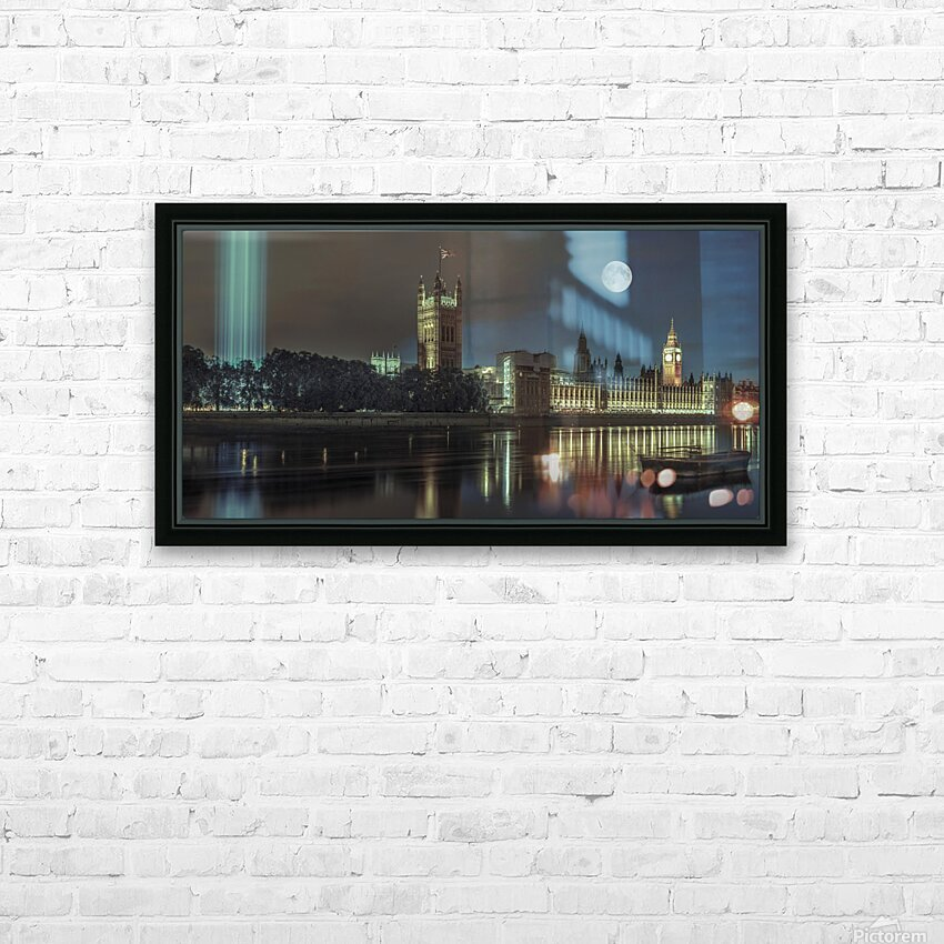 Column of spectra lights with Westminster Abby, London, UK HD Sublimation Metal print with Decorating Float Frame (BOX)