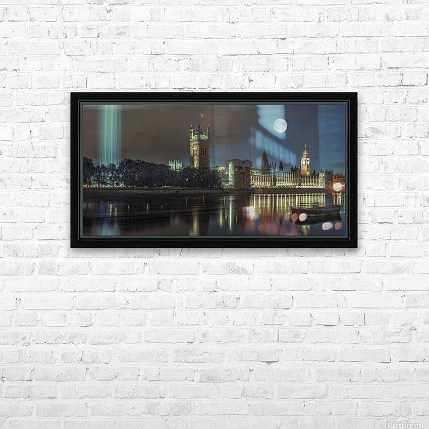 Column of spectra lights with Westminster Abby, London, UK HD sublimation métal imprimé avec décoration flotteur cadre (boîte)