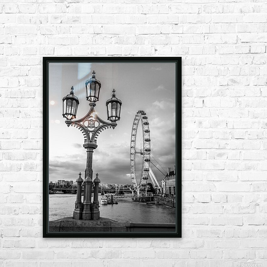 Street lamp with London Eye, London, UK HD Sublimation Metal print with Decorating Float Frame (BOX)