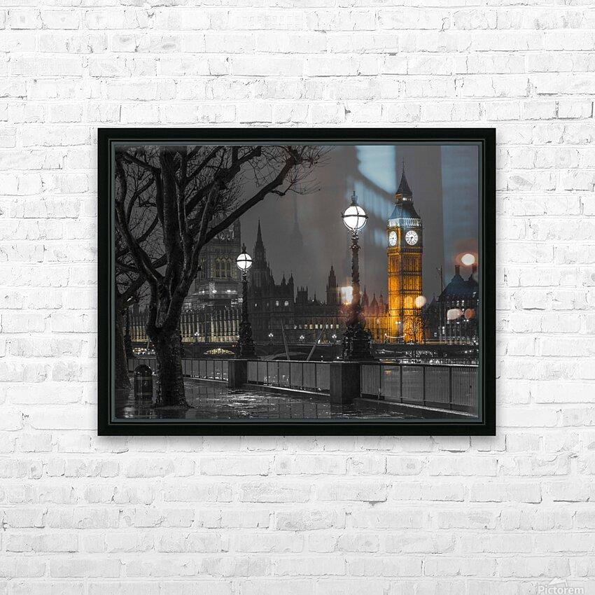 London cityscape in evening from Thames promenade HD Sublimation Metal print with Decorating Float Frame (BOX)