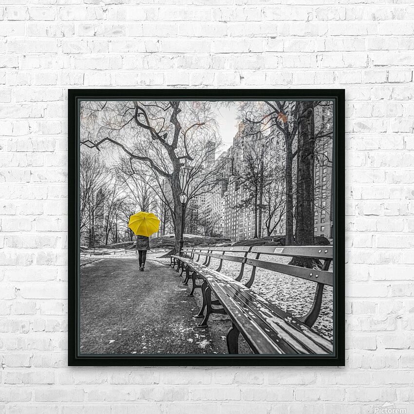 Tourist on pathway with Yellow umbrella at Central park, New York HD Sublimation Metal print with Decorating Float Frame (BOX)