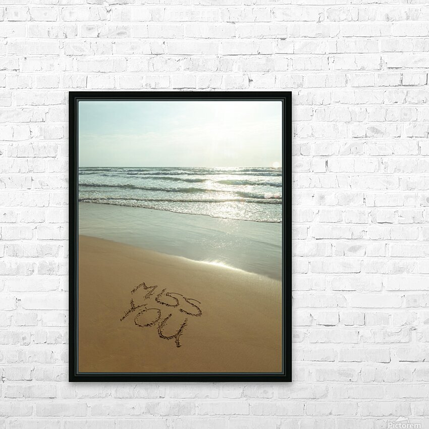 Miss You written on the beach HD Sublimation Metal print with Decorating Float Frame (BOX)