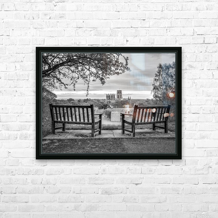 Park benches with Durham Cathedral in background HD Sublimation Metal print with Decorating Float Frame (BOX)
