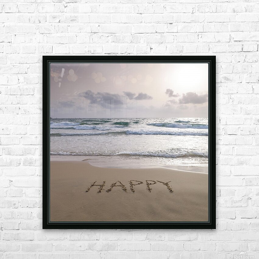 Sand writing - Word Happy written on beach HD Sublimation Metal print with Decorating Float Frame (BOX)