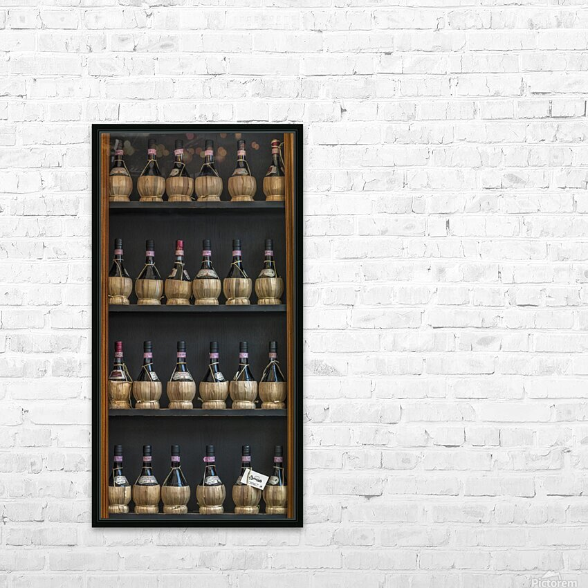 Old wine bottles on wooden shelf HD Sublimation Metal print with Decorating Float Frame (BOX)