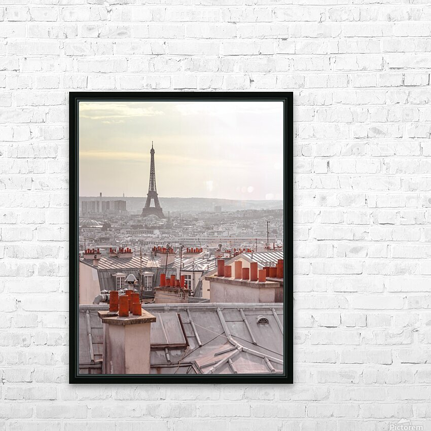 Eiffel Tower seen through the window of an apartment in Montmartre, Paris, France HD Sublimation Metal print with Decorating Float Frame (BOX)