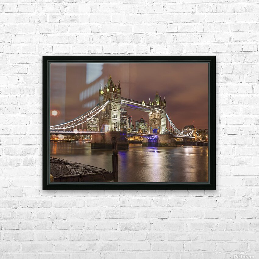 Tower bridge at night, London HD Sublimation Metal print with Decorating Float Frame (BOX)
