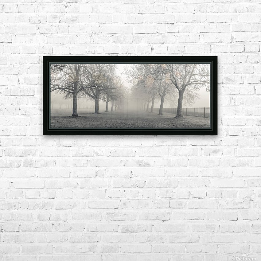 Pathway through trees HD Sublimation Metal print with Decorating Float Frame (BOX)