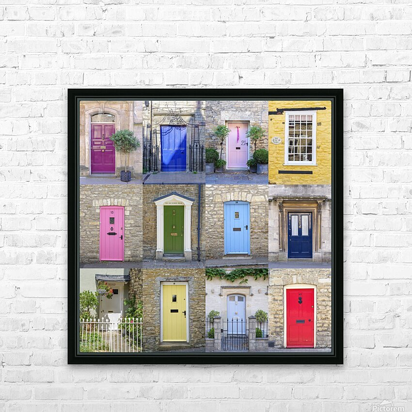 Collage of old doors, Cotswold, UK HD Sublimation Metal print with Decorating Float Frame (BOX)