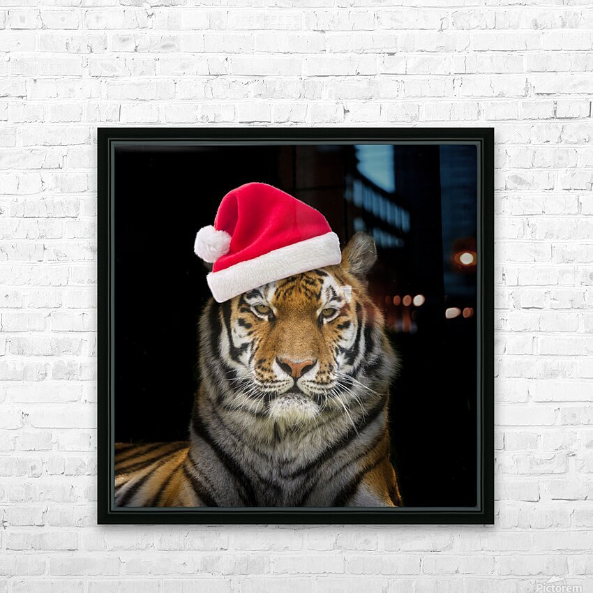 Tiger with Santa hat HD Sublimation Metal print with Decorating Float Frame (BOX)