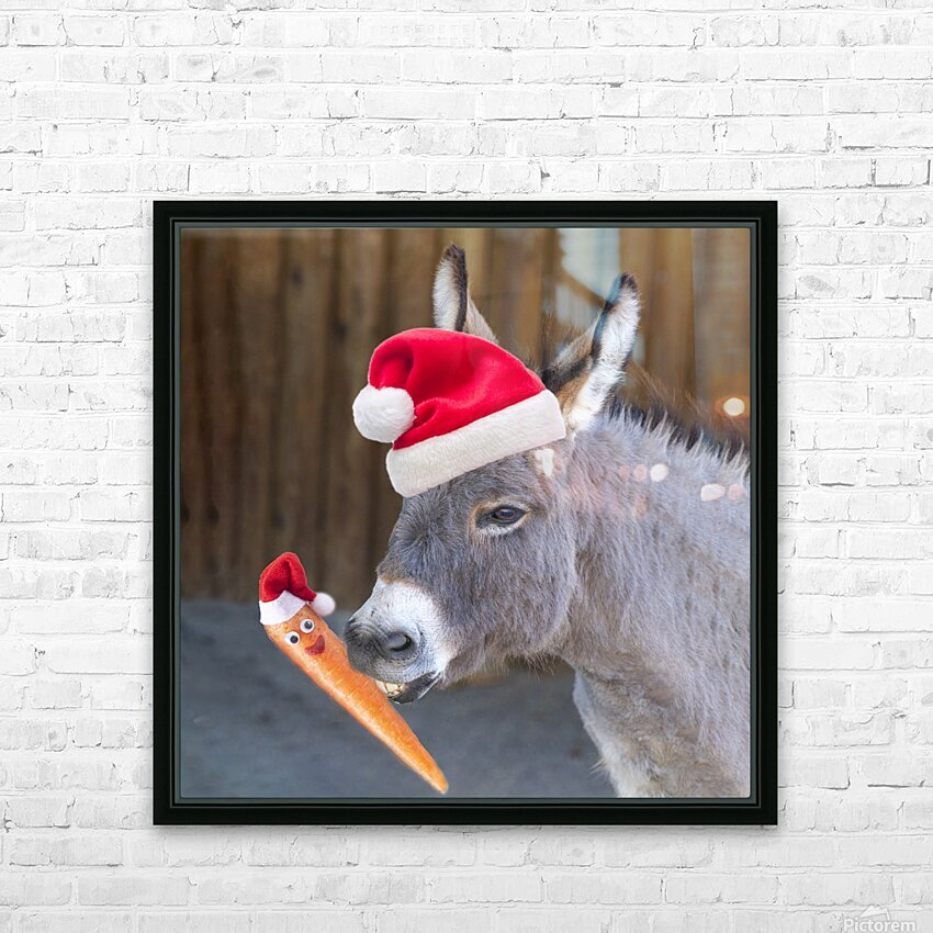 Donkey with Santa hat HD Sublimation Metal print with Decorating Float Frame (BOX)