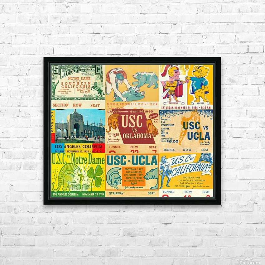 USC Trojans Football Ticket Stub Collage HD Sublimation Metal print with Decorating Float Frame (BOX)