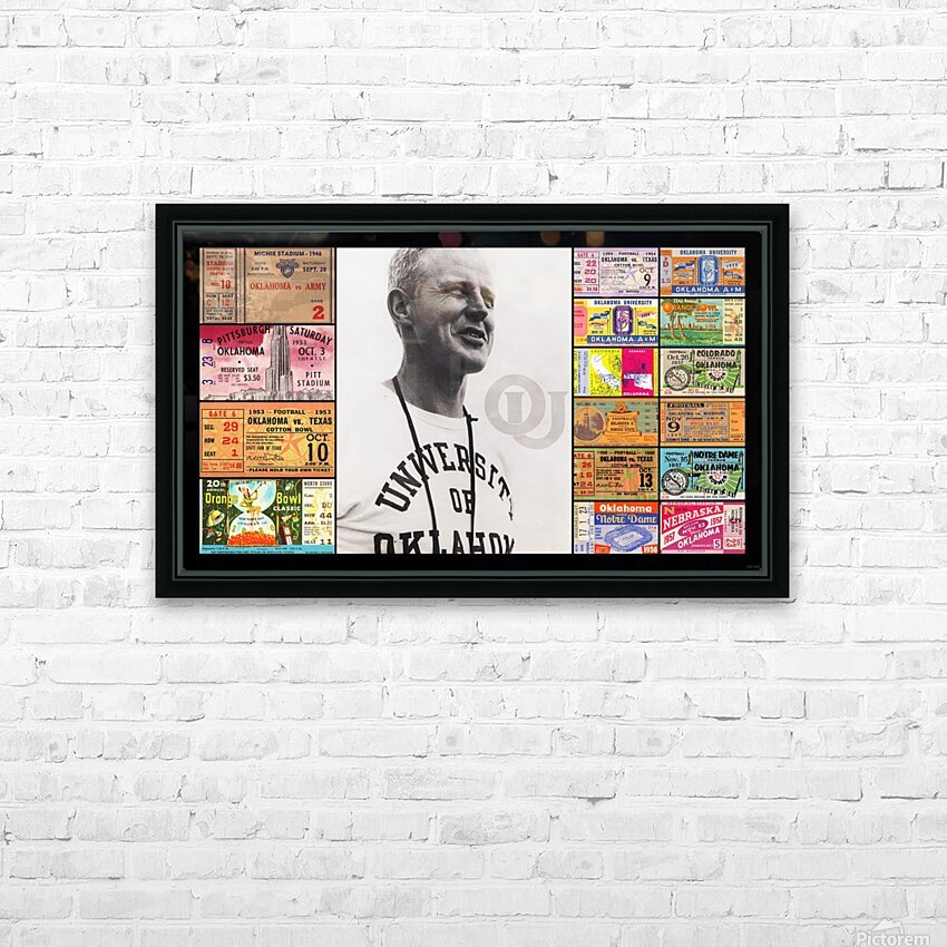 Oklahoma Football Bud Wilkinson Ticket Collage HD Sublimation Metal print with Decorating Float Frame (BOX)