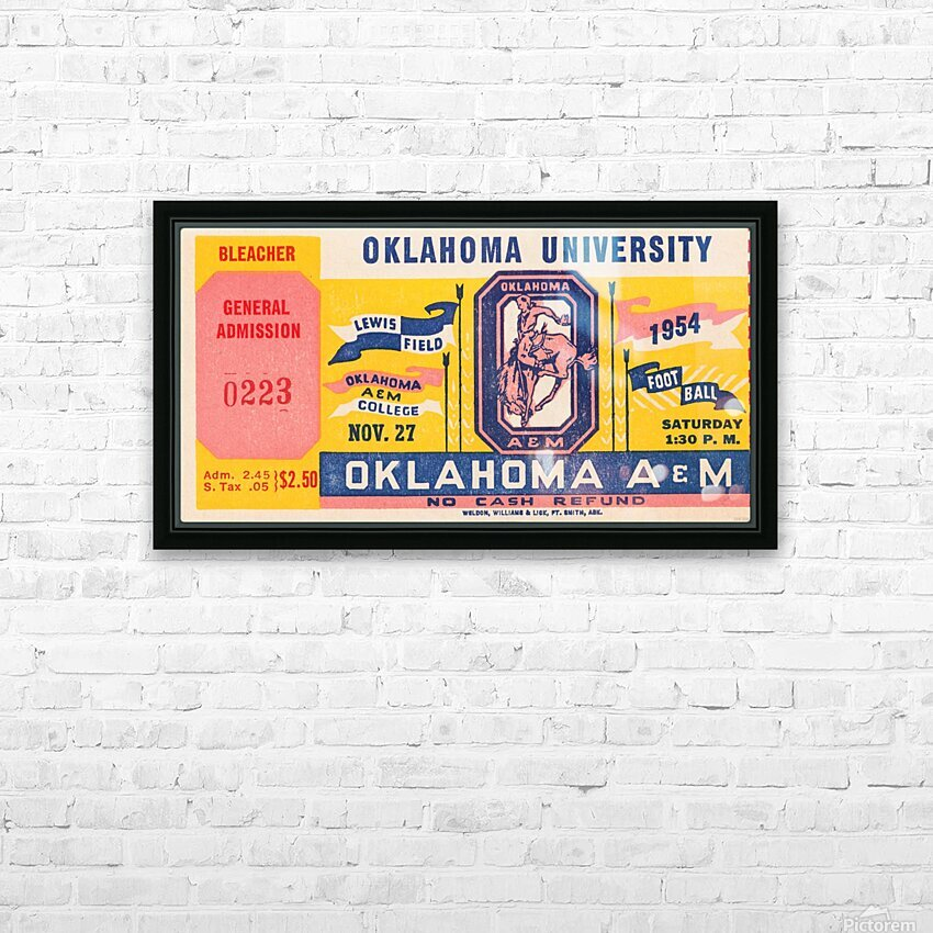 1954 Oklahoma vs. Oklahoma A&M HD Sublimation Metal print with Decorating Float Frame (BOX)