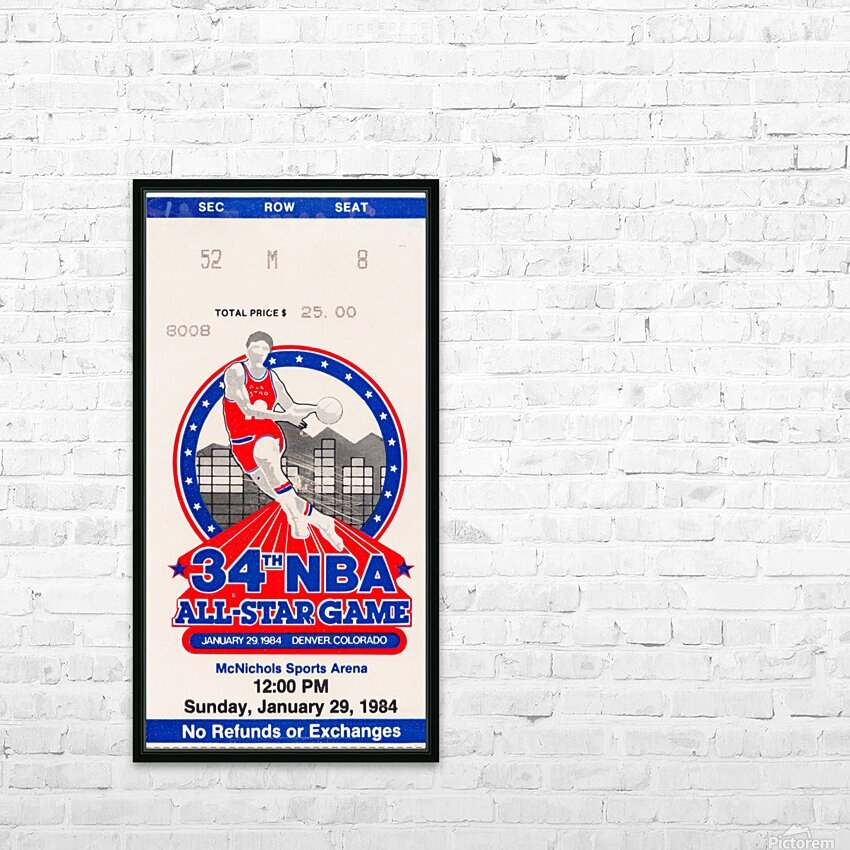 1984 NBA All-Star Game Ticket HD Sublimation Metal print with Decorating Float Frame (BOX)