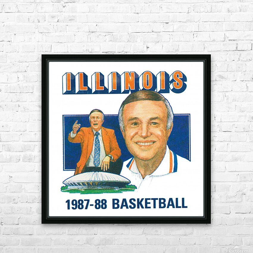 1987 Illinois Basketball Lou Henson HD Sublimation Metal print with Decorating Float Frame (BOX)