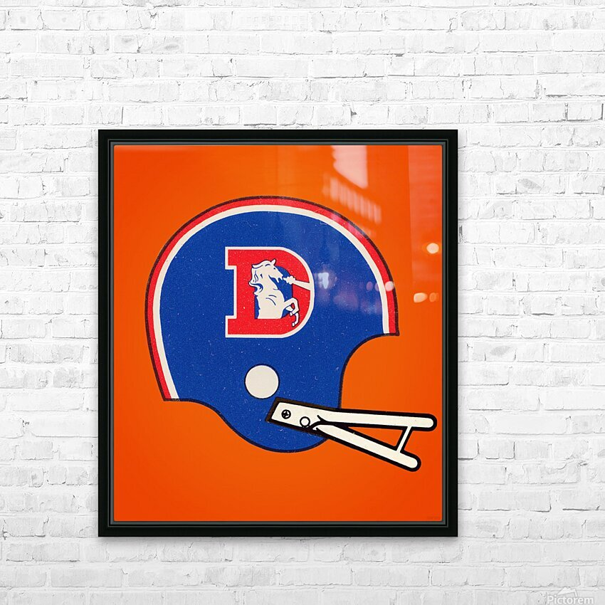 1982 Denver Broncos Football Helmet Art HD Sublimation Metal print with Decorating Float Frame (BOX)
