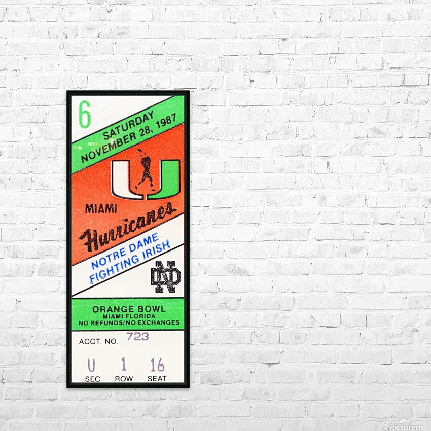 1987 Miami vs. Notre Dame HD Sublimation Metal print with Decorating Float Frame (BOX)