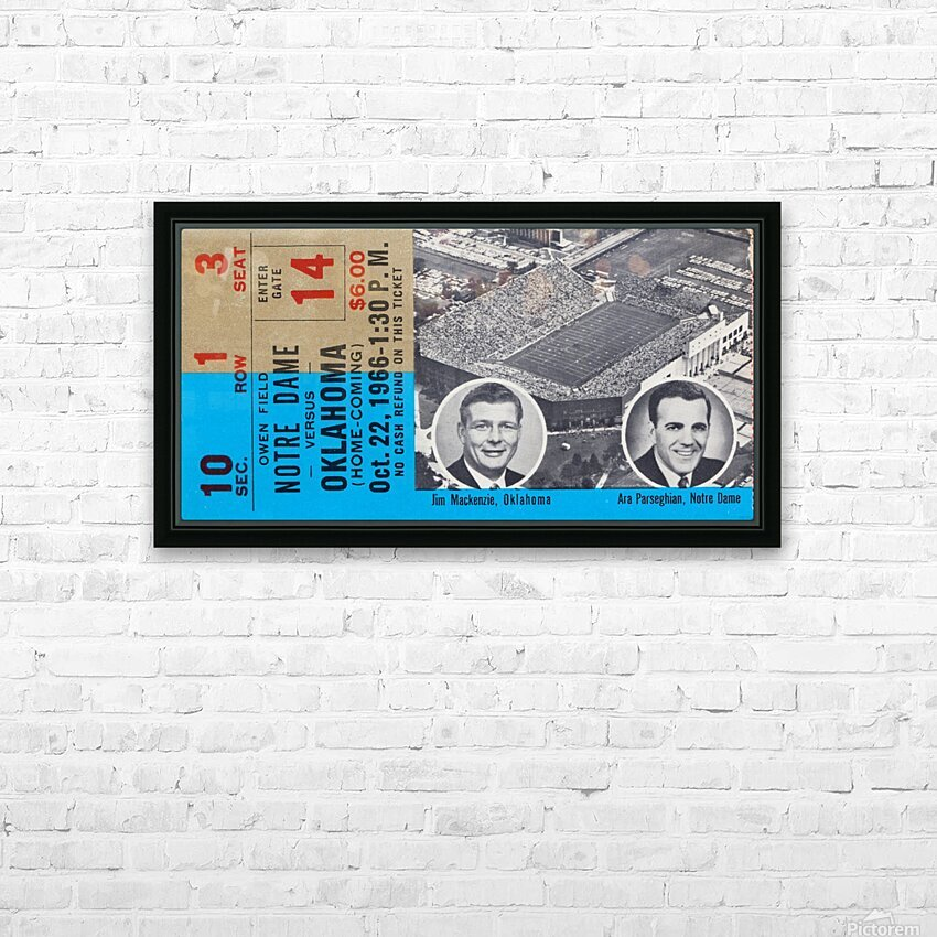1966 Oklahoma vs. Notre Dame HD Sublimation Metal print with Decorating Float Frame (BOX)