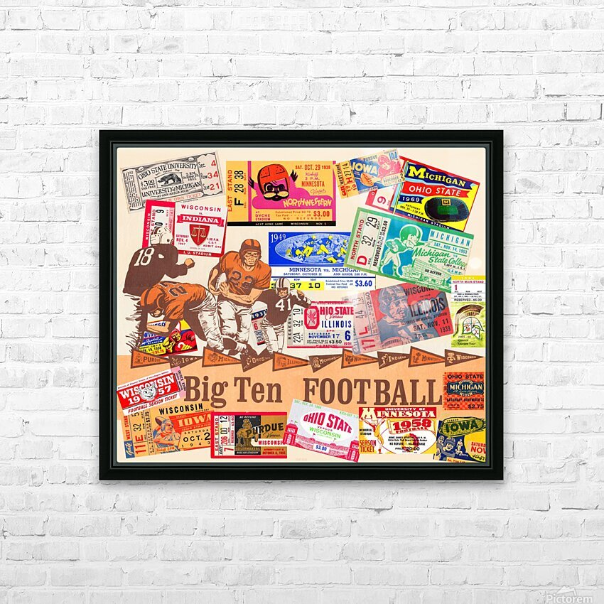 Big Ten Football Ticket Stub Collage HD Sublimation Metal print with Decorating Float Frame (BOX)