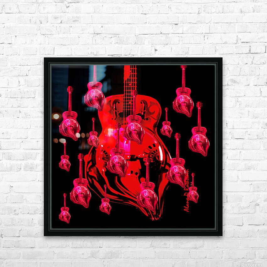 PinkRainBlackVelvet HD Sublimation Metal print with Decorating Float Frame (BOX)