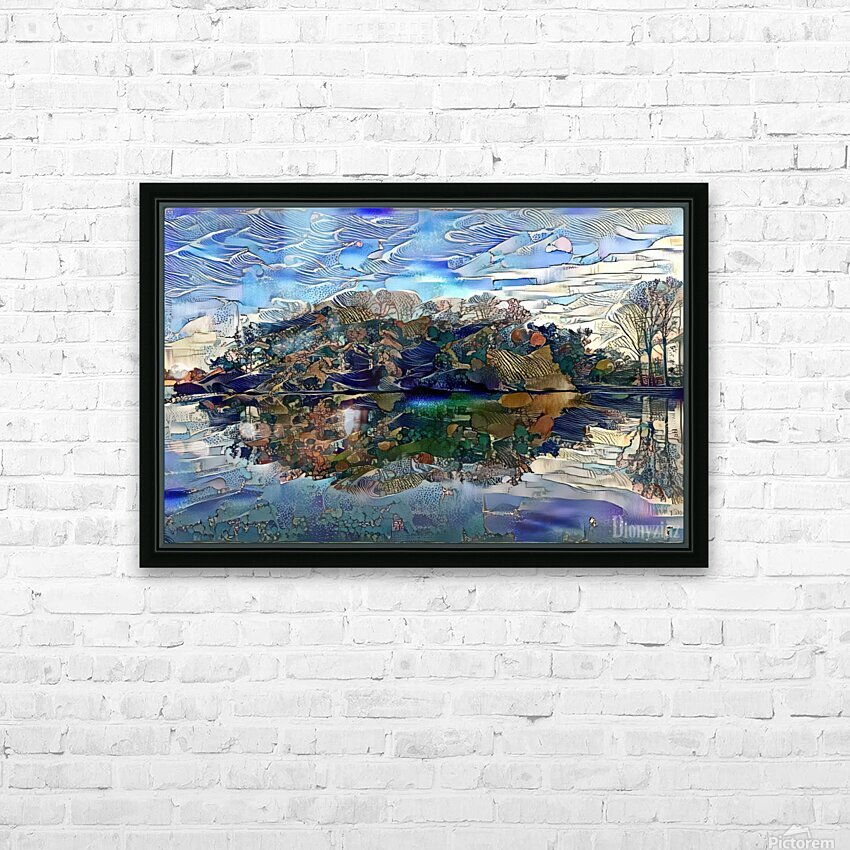 Japanese lake  HD Sublimation Metal print with Decorating Float Frame (BOX)