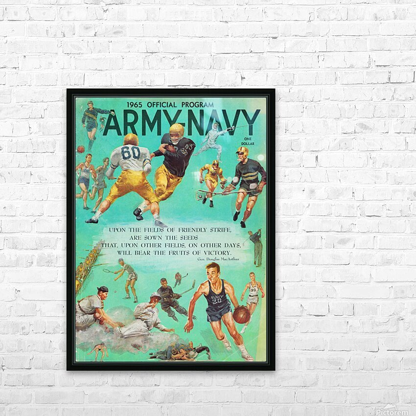 1965 Army vs. Navy Football Program HD Sublimation Metal print with Decorating Float Frame (BOX)